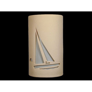 Tan 14-Inch Wall Sconce with Sailboat Cutout Design