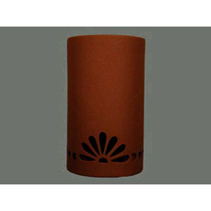 Terracotta 14-Inch Dark Sky Outdoor Wall Mount with Fan and Bullets Border Cutout Design