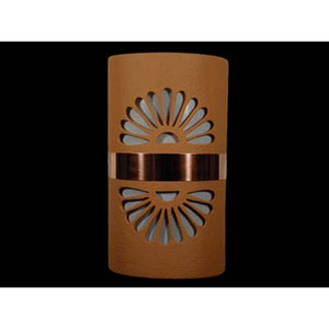 Brown 14-Inch Dark Sky Outdoor Wall Mount with Double Fan Cutout Design and Copper Band