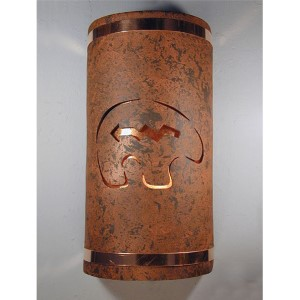Copper Brick One-Light 14-Inch Tall Outdoor Wall Sconce with Spirit Bear Center Cut Design