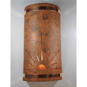 Copper Brick One-Light 14-Inch Tall Outdoor Wall Sconce with Sunrise Center Cut Design