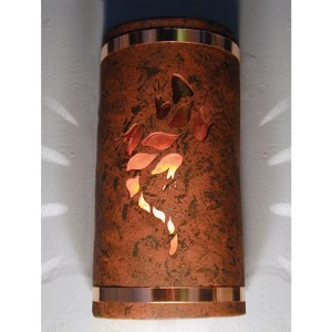 Copper Brick One-Light 14-Inch Tall Outdoor Wall Sconce with Lizard Center Cut Design