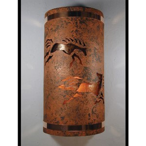 Copper Brick One-Light 14-Inch Tall Outdoor Wall Sconce with Wild Horses Center Cut Design
