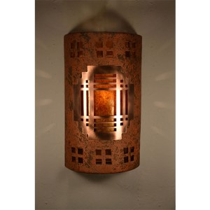 Copper Brick One-Light 17-Inch Tall Dark Sky Outdoor Wall Sconce