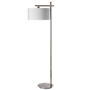Satin Chrome with White 18-Inch One-Light Floor Lamp