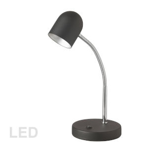 Black with Polished Chrome Five-Inch LED Desk Lamp