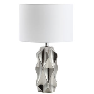 Polished Chrome with White 14-Inch One-Light Table Lamp