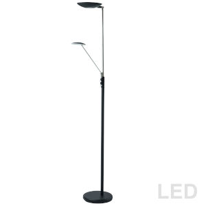 Black with Polished Chrome 11-Inch LED Floor Lamp