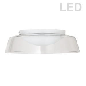 Crawford Matte White with Clear LED Flush Mount