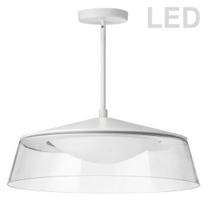 Matte White with Clear LED Pendant
