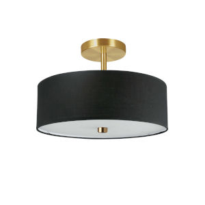 Everly Black with Aged Brass Three-Light Semi-Flush Mount