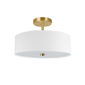 Everly White with Aged Brass Three-Light Semi-Flush Mount