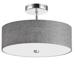 Gray with Polished Chrome Three-Light Semi-Flush Mount