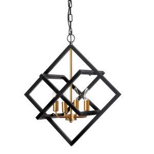 Black with Vintage Bronze Four-Light Pendant