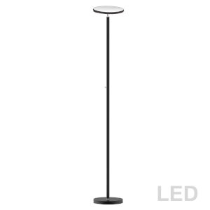 Satin Black LED Torchiere Floor Lamp