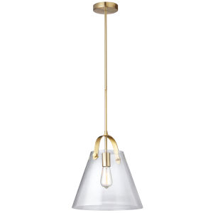 Clear with Aged Brass One-Light Pendant