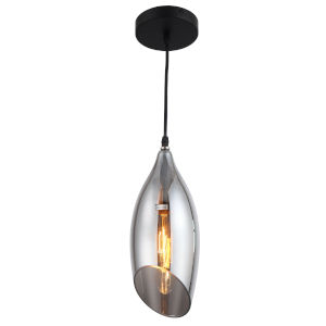 Abba Black Five-Inch One-Light Mini Pendant with Smoked Glass Shade
