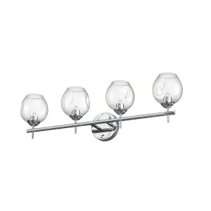 Abii Polished Chrome with Clear Four-Light Bath Vanity