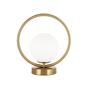 Adrienna Aged Brass with White One-Light Table Lamp