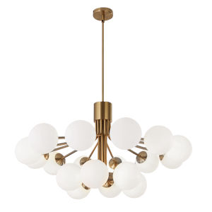 Amanda Aged Brass with Opal White 18-Light Chandelier