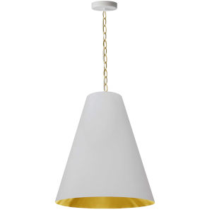 Anaya Aged Brass One-Light Pendant with White and Gold Shade