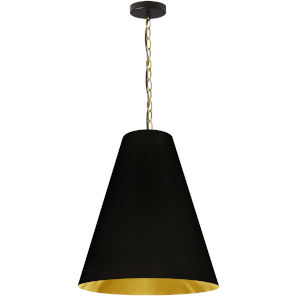Anaya Aged Brass One-Light Pendant with Black and Gold Shade