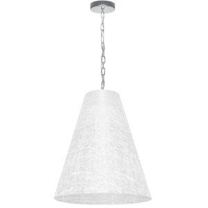 Anaya Polished Chrome One-Light Medium Pendant with White and Clear Shade