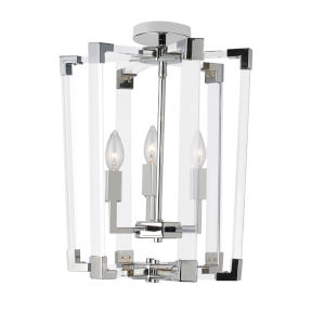 Artico Polished Chrome with Clear Three-Light Chandelier