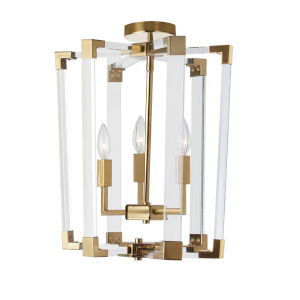 Artico Vintage Bronze with Clear Three-Light Chandelier
