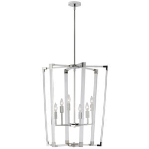 Artico Polished Chrome with Clear Six-Light Chandelier