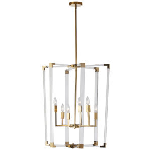 Artico Vintage Bronze with Clear Six-Light Chandelier