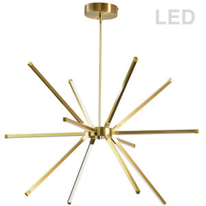 Array Aged Brass 32-Inch 12-Light LED Chandelier