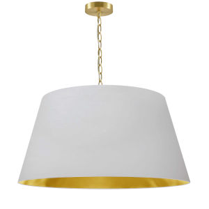 Brynn White with Aged Brass 26-Inch One-Light Pendant