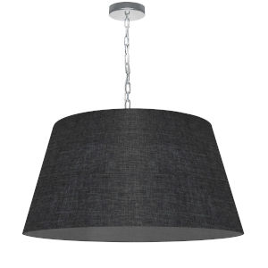 Brynn Black with Polished Chrome 26-Inch One-Light Pendant with Clear Shade