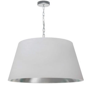 Brynn White Silver with Polished Chrome 26-Inch One-Light Pendant