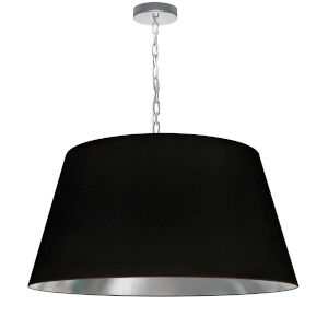 Brynn Black Silver with Polished Chrome 26-Inch One-Light Pendant