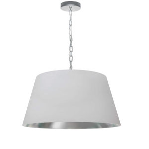 Brynn White Silver with Polished Chrome 20-Inch One-Light Pendant