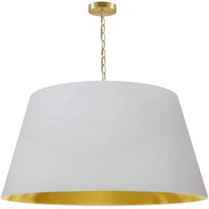 Brynn White with Aged Brass 32-Inch One-Light Pendant