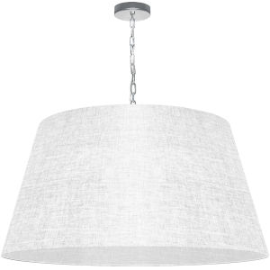 Brynn White with Polished Chrome 32-Inch One-Light Pendant with Clear Shade