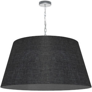 Brynn Black with Polished Chrome 32-Inch One-Light Pendant with Clear Shade