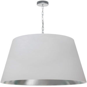 Brynn White Silver with Polished Chrome 32-Inch One-Light Pendant