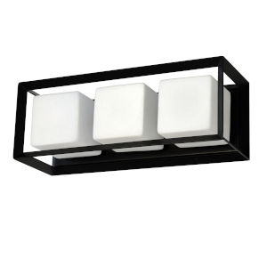 Beatrice Matte Black with Opal White Three-Light Bath Vanity