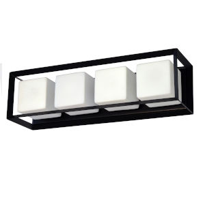Beatrice Matte Black with Opal White Four-Light Bath Vanity