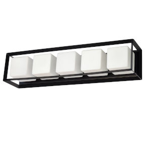 Beatrice Matte Black with Opal White Five-Light Bath Vanity