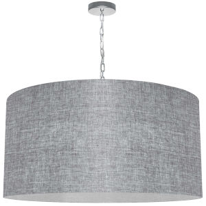 Braxton Polished Chrome One-Light XL Pendant with Gray and Clear Shade