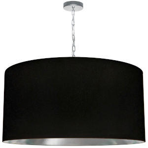Braxton Polished Chrome and Black One-Light XL Pendant with Drum Shade