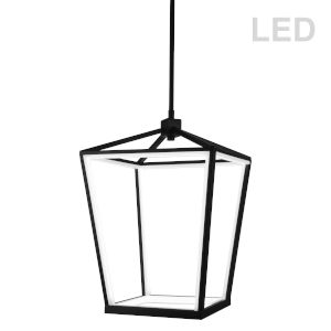 Cage Matte Black with White 13-Inch 12-Light LED Chandelier