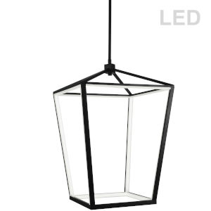 Cage Matte Black with White 17-Inch 12-Light LED Chandelier