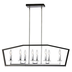 Cordova Polished Chrome with Black Eight-Light Chandelier