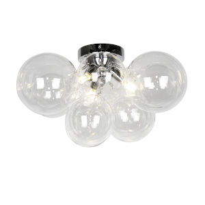 Comet Polished Chrome with Clear Three-Light Flush Mount